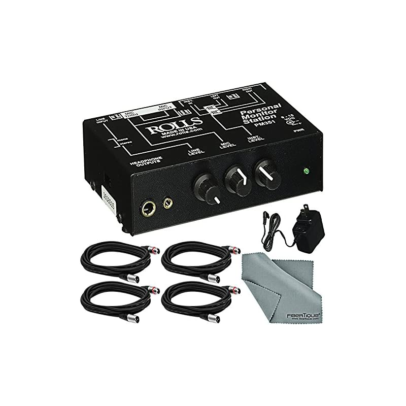 Rolls PM351 Personal Monitor Station for Musicians and Accessory Bundle w/ Fibertique Cloth