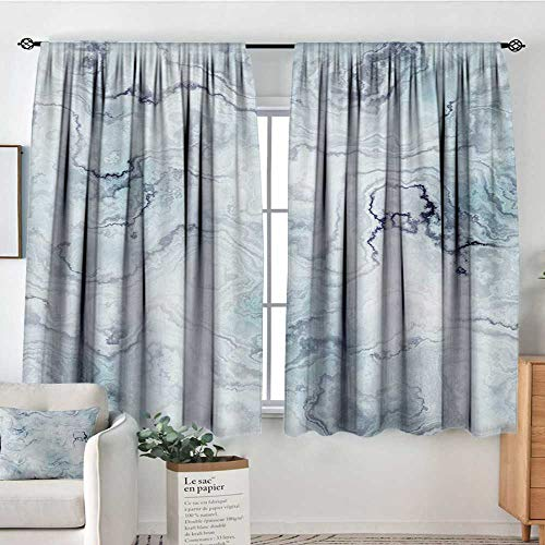 Window Blackout Curtains Marble,Soft Pastel Toned Abstract Hazy Wavy Pattern with Ottoman Influences Image,Pale Blue Grey Mint,for Room Darkening Panels for Living Room, Bedroom 55