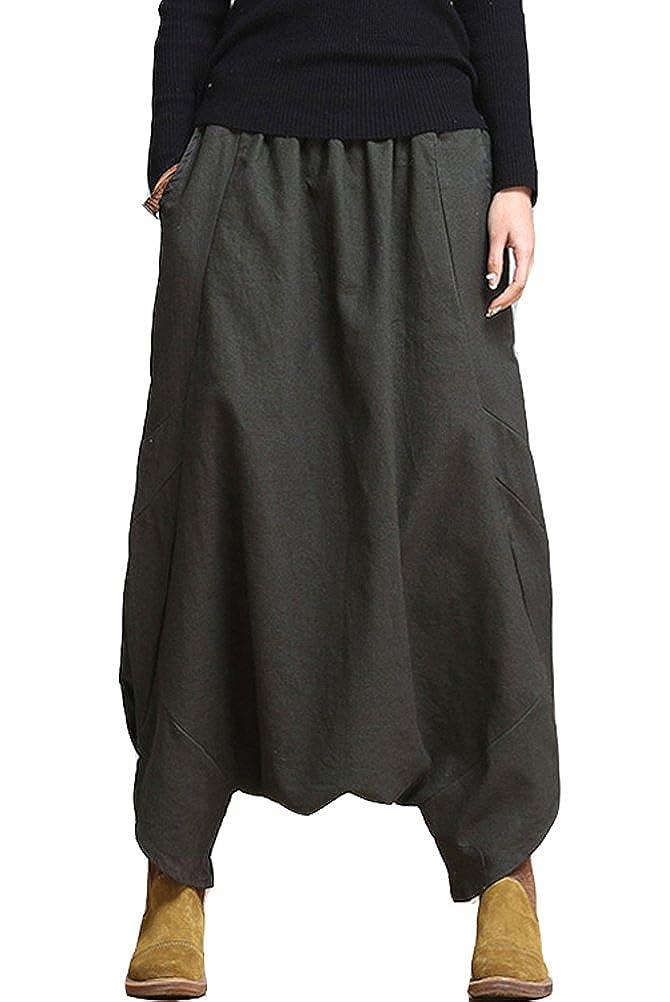 Mordenmiss Women's Drop Crotch Pants Linen Harem Drape Capri Culottes 2038-Style 1- black