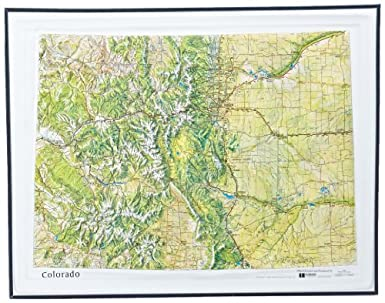 American Educational Colorado Natural Color Relief Map With Black Plastic Frame 17 1 2 Length X 22 1 2 Width