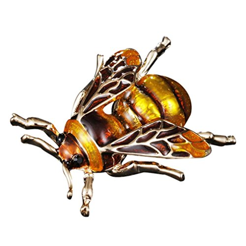 HP95 Green Gold Bee Insect Brooch,Fashion Enamel Bumblebee Pin Brooches for Women (Gold)