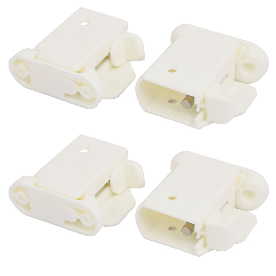 uxcell 21mmx35mm Plastic Left Right Side Guardrail Rail Buckle 2 Sets White w Spring