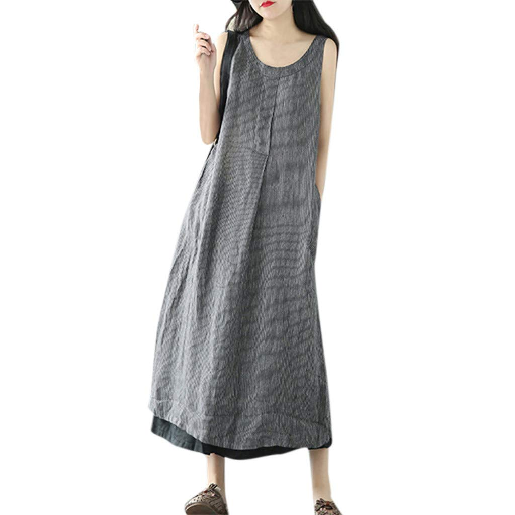 Nmch Women's Striped Literary Loose Splicing Sleeveless Plus Size Casual Maxi Dress Summer Linen Long Dresses(Gray,XXL)