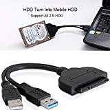 EkoBuy USB 3.0 to 2.5 inch SATA III Hard Drive/SSD Adapter with SSD Optimized UASP Support Cable Backward USB 2.0 USB 3.0 Compatible with Windows 10/8/7, Mac OS, Linux
