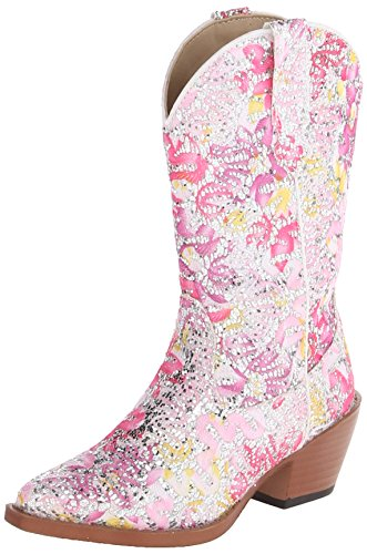 Roper Snip Toe Glitter Floral Western Boot ,Pink/White,10 M