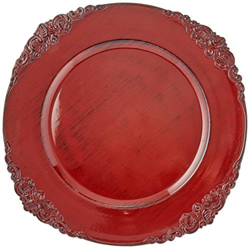 ChargeIt by Jay Royal Embossed Charger Plate, 13-Inch, (Red Charger Plate)