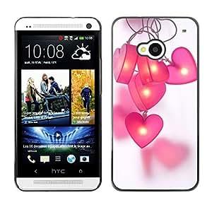 Patrón Polígono Rosa Gris Negro Púrpura- Metal de aluminio y de plástico duro Caja del teléfono - Negro - HTC One M7