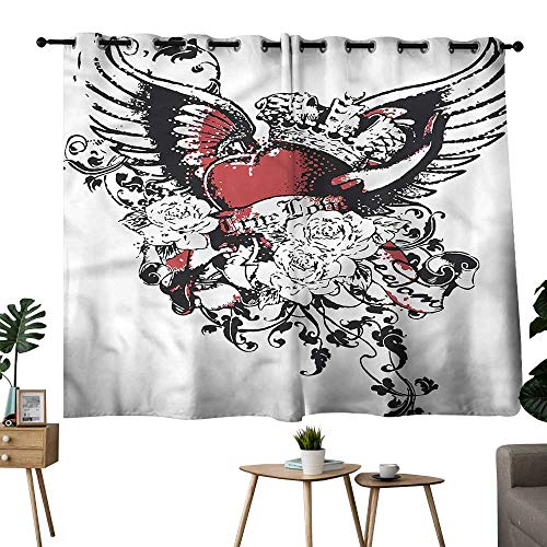 Alexandear Decoration Darkening Curtains Grommets Curtain Backdrop Modern,Heart Crown Wings Tattoo Set of 2 Panels W55 x L39