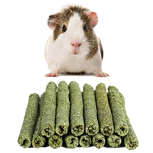 sharllen All Natural Timothy Grass Gold Oat Grass Molar Rod Apple Sticks Pet Snacks Chew Toys Rabbit Hamsters Guinea Pig Chinchillas Squirrel Other Small Animals -Timothy Grass