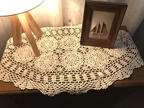 (Damanni Oval Cotton Handmade Crochet Lace Table Runner Doilies Dresser Scarf,15 Inch by 27 Inch,Beige)