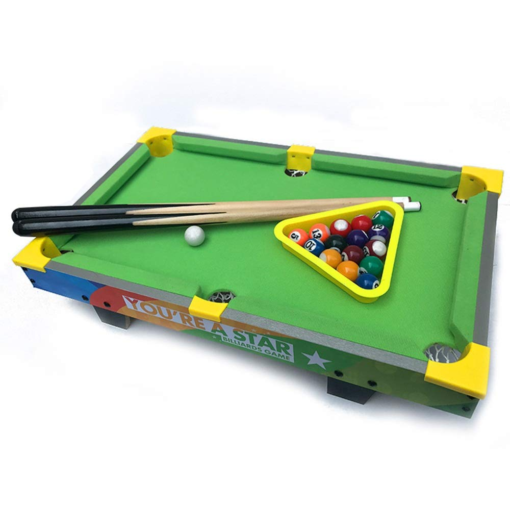 TAESOUW-Sports Mini Tabletop Pool Billiards Game Tabletop Pool Petite Billiards with Smaller Mini Pool Table for Adult and Chindren (Color : Green, Size : 51.5x31.5x15cm) by TAESOUW-Sports