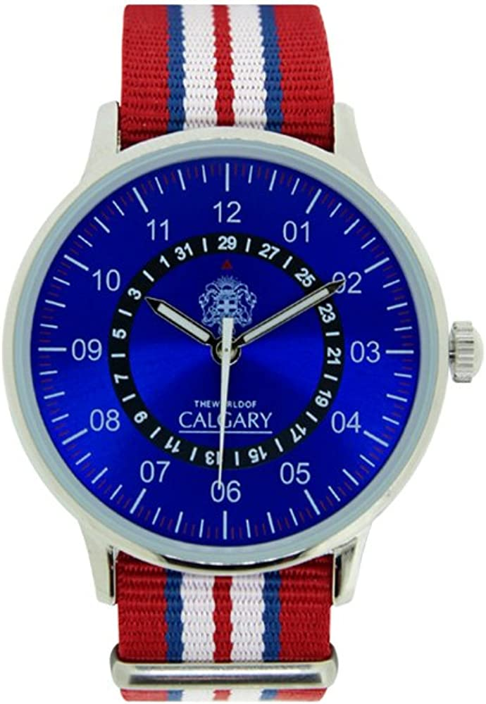 Relojes Calgary San Marine 1950. Reloj Vintage para Hombre, Correa de Tela roja, Blanca y Azul. Esfera Color Azul