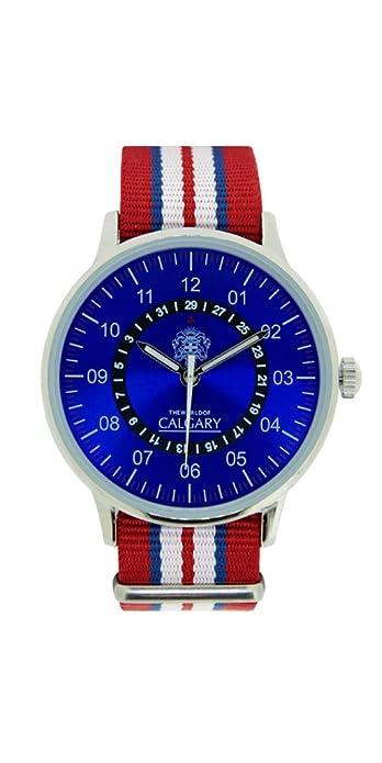 Relojes Calgary San Marine 1950. Reloj Vintage para Hombre, Correa de Tela roja, Blanca y Azul. Esfera Color Azul: Amazon.es: Zapatos y complementos