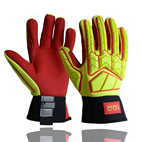 Heavy Impact Work Gloves, Hi-Vis Oil and Gas Safety Gloves, Utility Mechanic CR5 Glove with TPR Protection Yellow Red (Large)