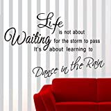 ORDERIN Art Christmas Gift Decal Decal Life Is Short Dancing in the Rain Removable Mural Wall Stickers for Home Decor