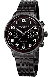 Akribos XXIV Men's Black Dual Time Zone Sub dials with Black Case and Black Stainless Steel Bracelet Watch AK942BK