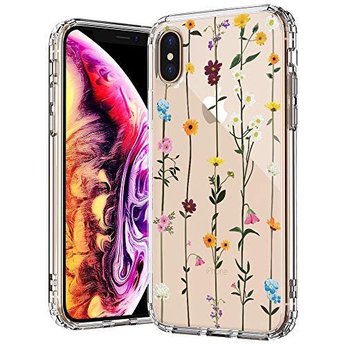 (MOSNOVO iPhone Xs MAX Case, Clear iPhone Xs MAX Case, Wildflower Floral Flower Pattern Printed Clear Design Transparent Plastic Back Case with TPU Bumper Case Cover for iPhone Xs MAX)