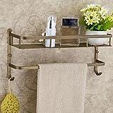 Antique Antique Brass Wall Mounted Bathroom Shelves , Brass