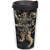 Tervis 1241674Juego de Tronos–Casa Lannister Vaso con envoltura y tapa de color negro 453.6gram, transparente