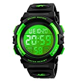Kids Digital Sports Watch for Boys Girls, Boy Waterproof Casual Electronic Analog Quartz 7 Colorful Led Watches with Alarm Stopwatch Silicone Band Luminous Wristatches (Green)