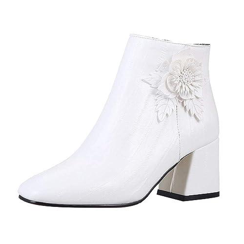 Zapatos Retro De TacóN Alto para Mujer Flores Salvajes Botines con Cremallera Lateral Botas para Mujer: Amazon.es: Zapatos y complementos