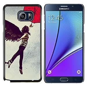 YiPhone /// Prima de resorte delgada de la cubierta del caso de Shell Armor - Resumen del vuelo Muchacha del paraguas - Samsung Galaxy Note 5 5th N9200