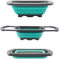 Scolapasta Philwin 3.8l capacità sul lavandino colino con base fissa per piedi, lavabile in lavastoviglie, senza BPA, Malachite verde