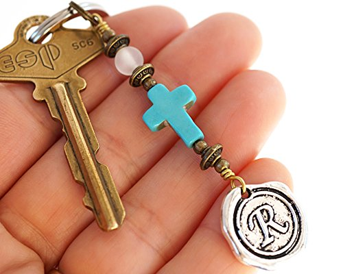 Frosted Quartz Blue Turquoise Cross Keychain Favors Cross Key Chain Initial Monogram Silver Wax Seal Personalized religious Custom Keyring Gift men women Handmade and Crafted by KapKaDesign ()