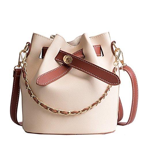 LEODIKA Bolsa de Nueva Cubo de Corea Moda solo hombro de la taleguilla de las mujeres mini bolso pequeño Marrón Marrón Satchel Brown