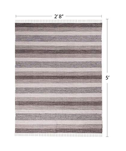 (We Rugs Oslo Collection: Reversible Handmade Flatweave 100% Cotton Area Rug for Home Décor, Easy Care, 2' 8'' x 5', Grey Model 3993)