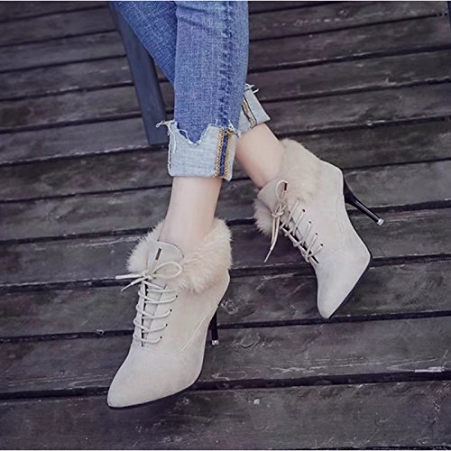 Zapatos talón Otoño informal Toe negro Stiletto de botines de Polar oche fiesta combatir botines Invierno almendra Mujer botas botas señaló Almond rgrwzxfqn