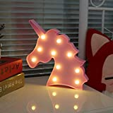 UNICORN LED Night Light Lamp Kids Marquee Letter Lights Unicorn shape Signs Light Up Christmas Party Wall Decoration Battery Operated (pink)