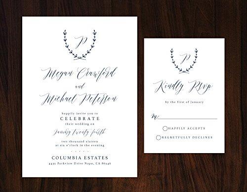 Navy Wedding Invitation, Monogram Wedding Invitation, Elegant Navy Wedding Invitation by Alexa Nelson Prints