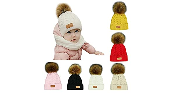 Warm Knitted Cap for Girls and Boys Baby Toddler Childrens Beanie YSense 2 Pack Kids Winter Knit Hat