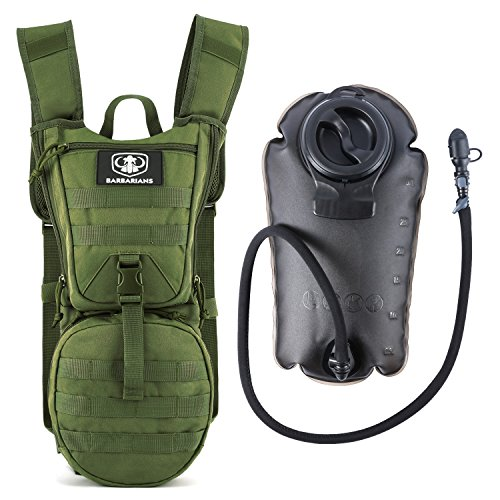 Cheap Barbarians Tactical Hydration Pack Water Backpack with 3L Bladder, Lightweight Military Molle Backpack Green