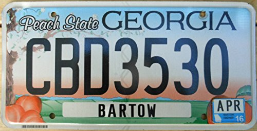 Georgia Peach State License Plate black numbers on blue and orange sky with peach tree and 4 peaches flat non-embossed ()