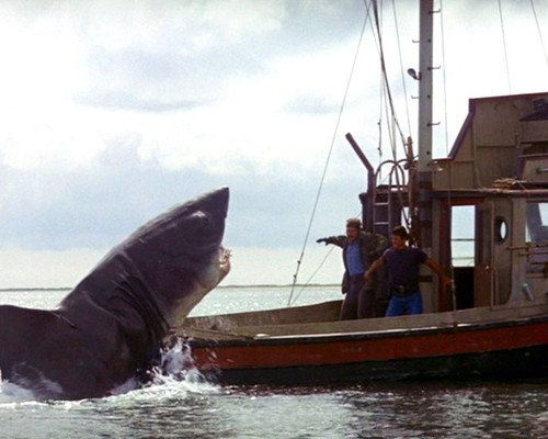 Jaws Roy Scheider Robert Shaw shark attacking Orca boat 8x10 Promotional Photograph