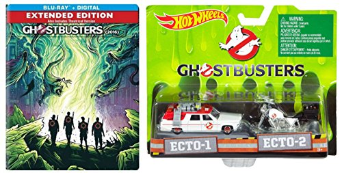 Ghostbusters: Answer the Call (Extended Edition) Exclusive Steelbook Blu-ray with Hot Wheels New Ghostbusters Ecto 1 & Ecto-2 Motorcycle 2-Car Die Cast Set