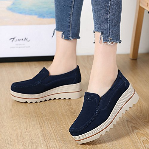 Wide On for Slip Top Women Platform Low Moccasins Shoes Ladies Wedge Loafers Comfort Suede PINGYE Blue Sneakers UTFRxzzq