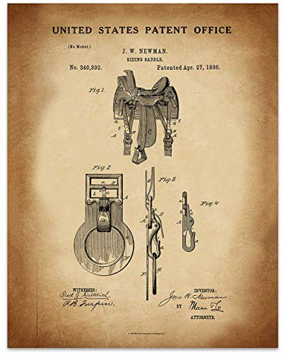 (Western Horse Saddle - 11 x 14 Unframed Patent Print - Great Gift for your favorite Equestrian, Horse Lover, or Cowboy)