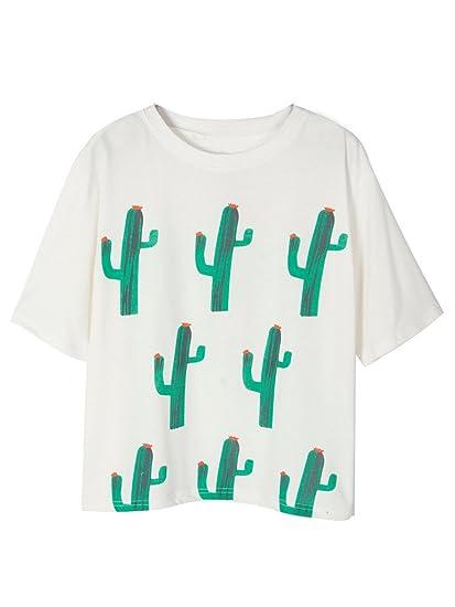 e53e0eae84e Amazon.com  Clothink Women White Cactus Print Short Sleeve Side ...