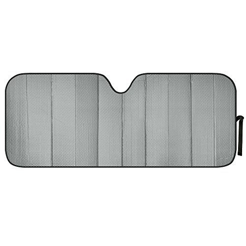 Motor Trend AS-312-GR Front Windshield Sun Shade-Black Jumbo Accordion Folding Auto Sunshade for Car Truck SUV 66 x 27 Inch (Gray) (Shade Pilot Gray)