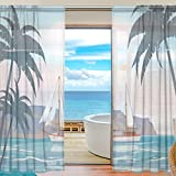 SEULIFE Window Sheer Curtain, Ocean Sea Summer Beach Palm Tree Voile Curtain Drapes for Door Kitchen Living Room Bedroom 55x84 inches 2 Panels