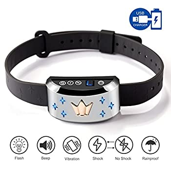 Image of Pet Supplies SMARTWOOD Bark Collar [2018 Flash Version] Rechargeable Dog Anti Bark Collar Smart Detection with Humane Vibration Harmless Shock Mode and Silicone Prongs, No Bark Control for Small Medium Large Dogs