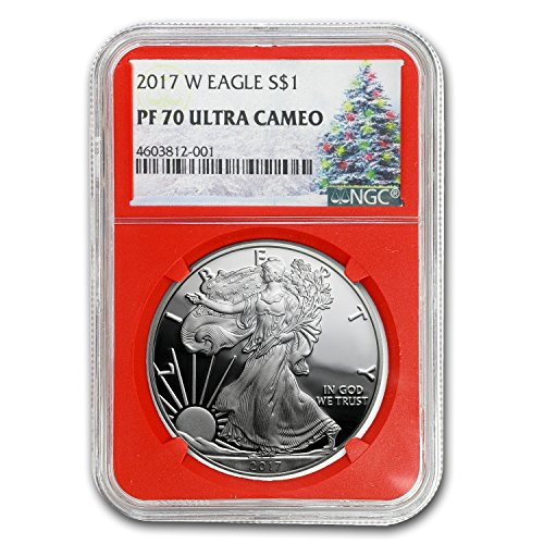 2017 W Proof Silver American Eagle PF-70 NGC (Christmas Label) 1 OZ PF-70 NGC