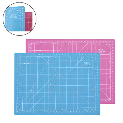 ZERRO Rotary Self Healing Cutting Mat Double Sided 12'x9' Great for Scrapbooking, Quilting, Sewing (Pink/Blue)