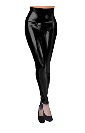 Women Shiny High Waisted Faux Leather Legging at Amazon Women's ...