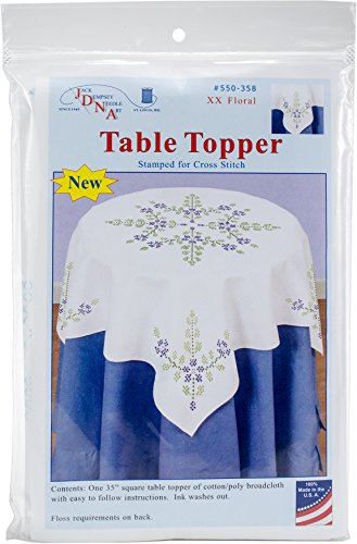 Jack Dempsey Needle Art 550358 Cross Stitch Floral Embroidery Tablecloth, 35