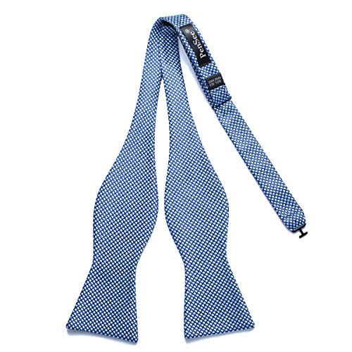PenSee Mens Self Bowtie Silk Plaids & Checkered Woven Jacquard Bow Ties - Various Colors