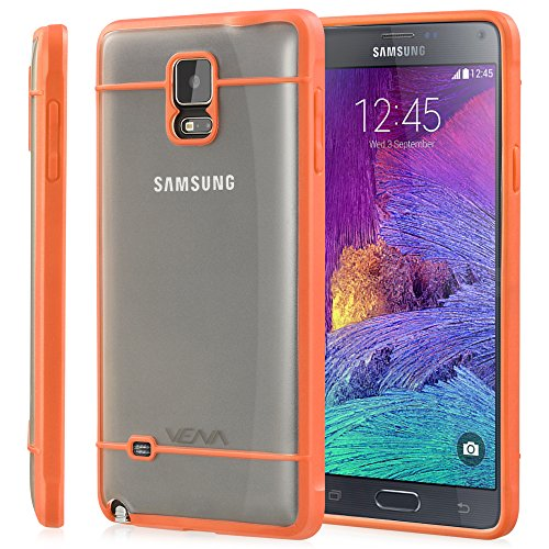 Galaxy Note 4 Case - VENA [RADIANT] Slim Clear Hybrid Bumper Case for Samsung Galaxy Note 4 (Transparent/Orange)